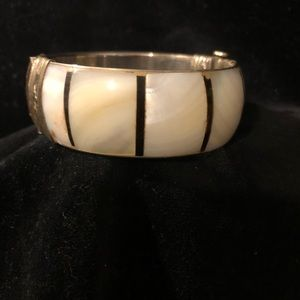 unsigned beauty Jewelry - Vintage Mother of Pearl & Indian Silver bracelet
